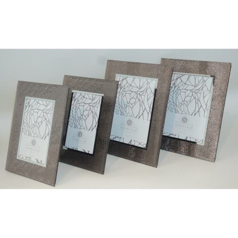 Sophia Rae Metallic Sheen Synthetic Snake Skin Picture Frame Set of Four Frames