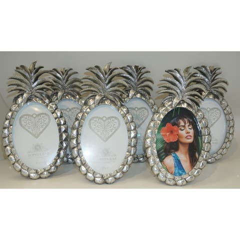 Sophia Rae Silver Pineapple Oval 5x7 inch 6 Piece Picture Frame Value Set