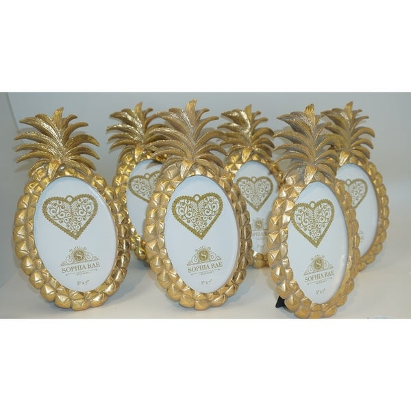 Sophia Rae Gold Pineapple Oval 5x7 inch 6 Piece Picture Frame Value Set