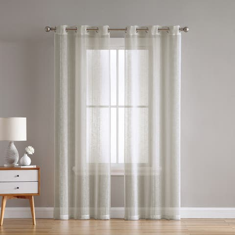VCNY Home Hatfield Woven Sheer Grommet Curtain Panel Pair