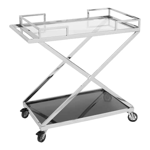 Aurelle Home Stainless Steel and Black Glass Modern Bar Cart
