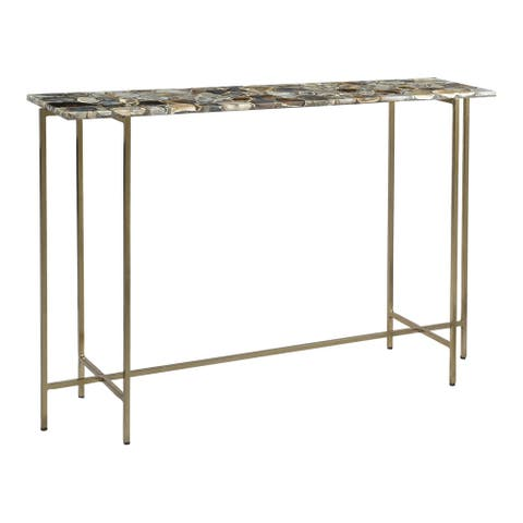 Aurelle Home Modern Agate and Iron Console Table
