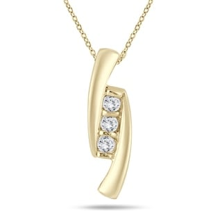 1 4 Carat TW Diamond Three Stone Pendant In 14K Yellow Gold