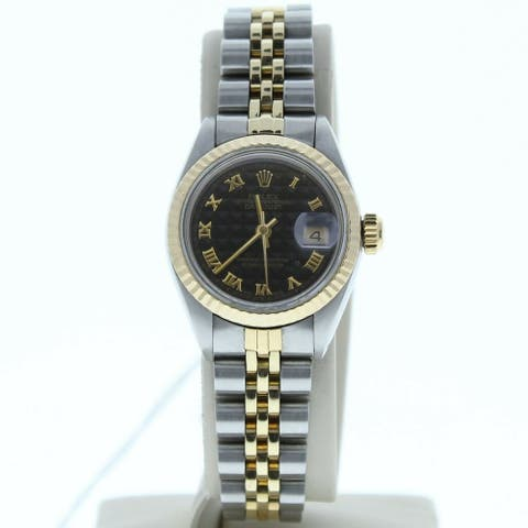 Rolex Model 6917 26mm Datejust Steel & Gold Jubilee Band Black Pyramid Dial