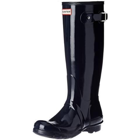 Hunter Womens Original Tall Gloss Rain Boots - Navy - Size 7