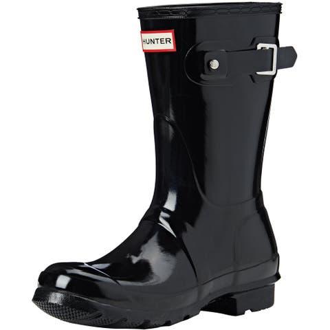 Hunter Womens Original Short Gloss Rain Boots - Black - Size 9