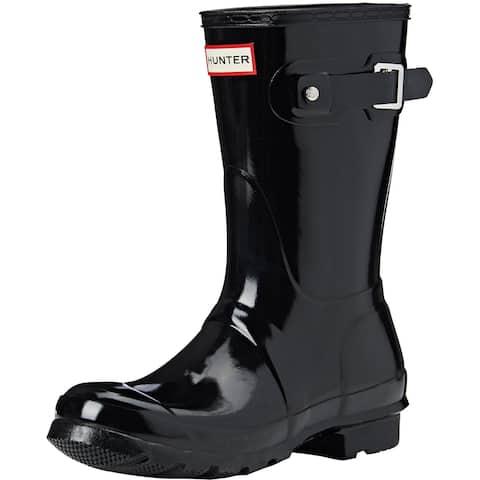 Hunter Womens Original Short Gloss Rain Boots - Black - Size 7