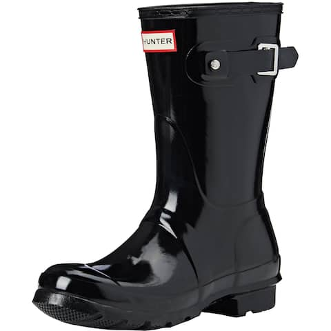 Hunter Womens Original Short Gloss Rain Boots - Black - Size 8