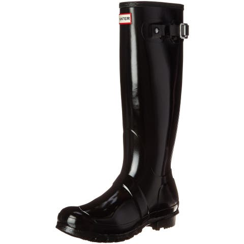 Hunter Womens Original Tall Gloss Rain Boots - Black - Size 5