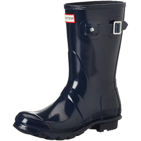 Hunter Womens Original Short Gloss Rain Boots - Navy - Size 9
