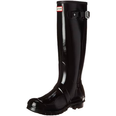 Hunter Womens Original Tall Gloss Rain Boots - Black - Size 8