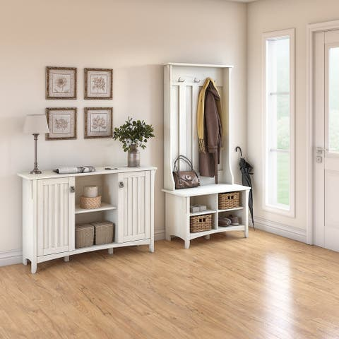 Salinas Entryway Storage Set with Hall Tree, Shoe Bench and Cabinet