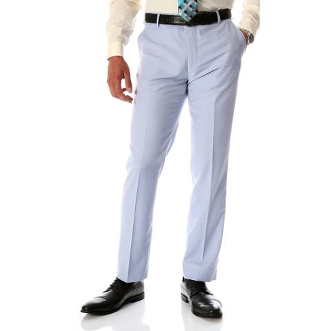Ferrecci Men's Halo Sky Blue Slim Fit Flat-Front Dress Pants