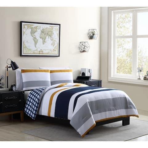 VCNY Home Indigo Stripe and Plaid Reversible Duvet Cover Set