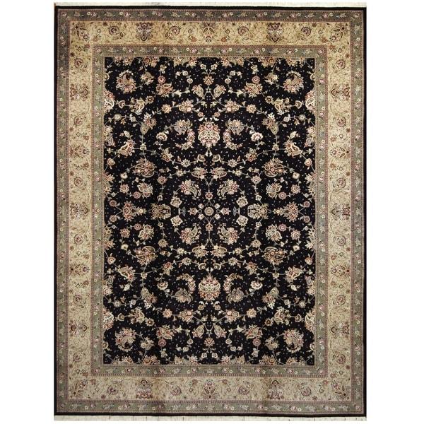 Handmade One-of-a-Kind Tabriz Wool and Silk Rug (India) - 9' x 12'3