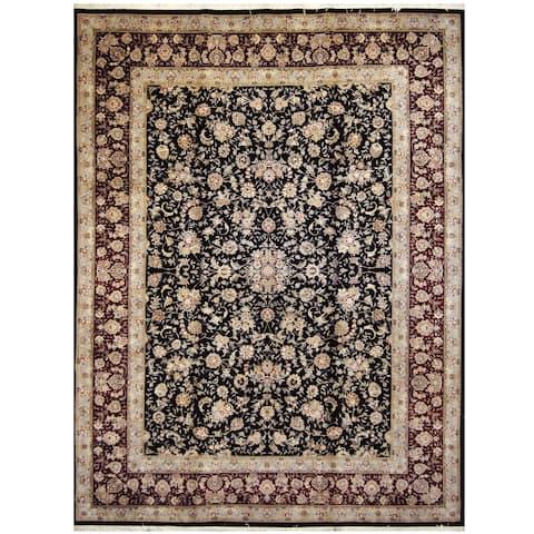 Handmade One-of-a-Kind Tabriz Wool and Silk Rug (India) - 9' x 12'