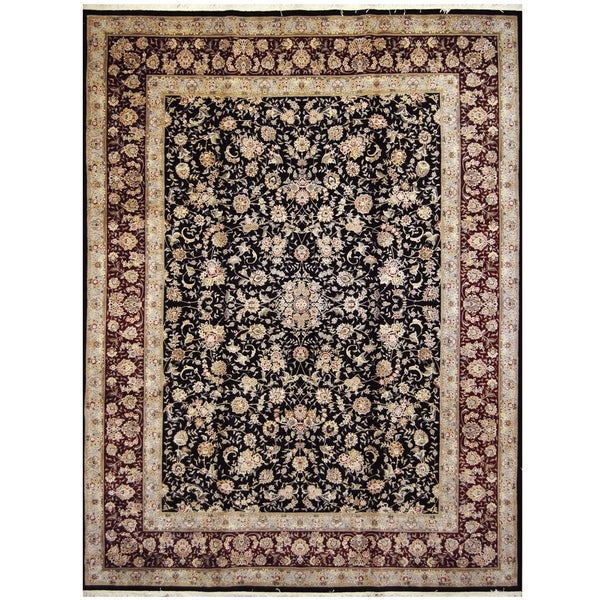 Handmade One-of-a-Kind Tabriz Wool and Silk Rug (India) - 9' x 12'