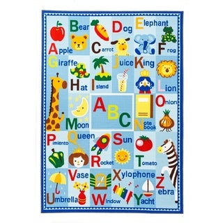 Educational Alphabet ABCs / Girl's City Reversible Kids Area Rug
