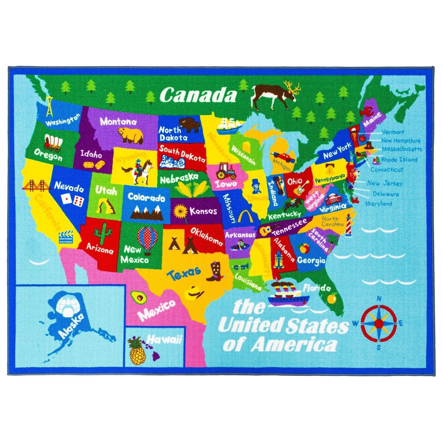 Picture of: Shop Black Friday Deals On Educational Usa States Map Princess World Reversible Kids Area Rug On Sale Overstock 28353187 31 X 58