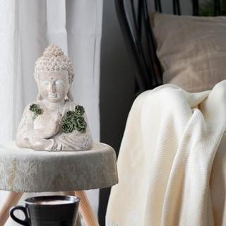 "Buddha Bust W Echeveria 11"""