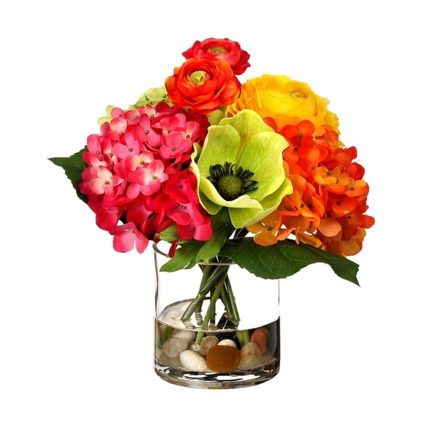"""Citrus Punch Floral in Illusion Vase, Red, Pink, Orange, Yellow, Green 9.5"""""""