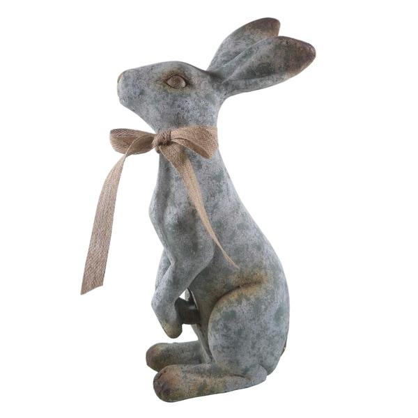 """Garden Stand Bunny W Bow 19"""""""