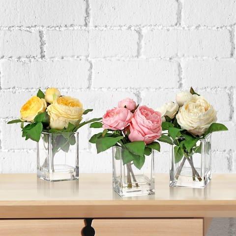 9-Inch English Rose X2+Bud In Illusion 3 Piece Set