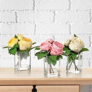 9-Inch English Rose X2+Bud In Illusion 3 Piece Set