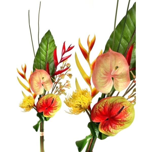 """Tropical Floral & Green Bundle, Red, Yellow 38"""""""