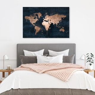 Link to Oliver Gal 'Mapamundi Copper' Navy Blue, Gold Maps Wall Art Canvas Print Similar Items in Canvas Art