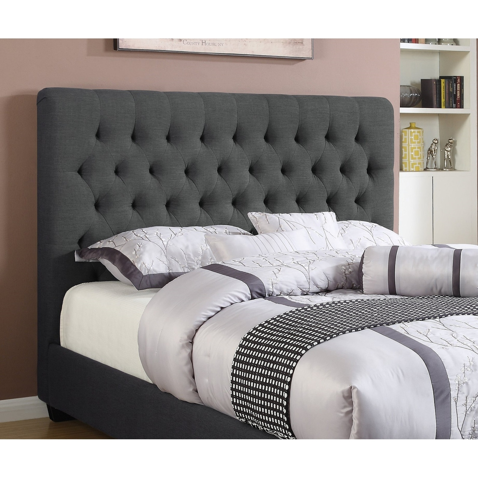 Thompson Full Size Charcoal Fabric Upholstered Tufted Headboard On Sale Overstock 28353370