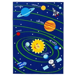 Educational Solar System Planets / Numbers Reversible Kids Area Rug