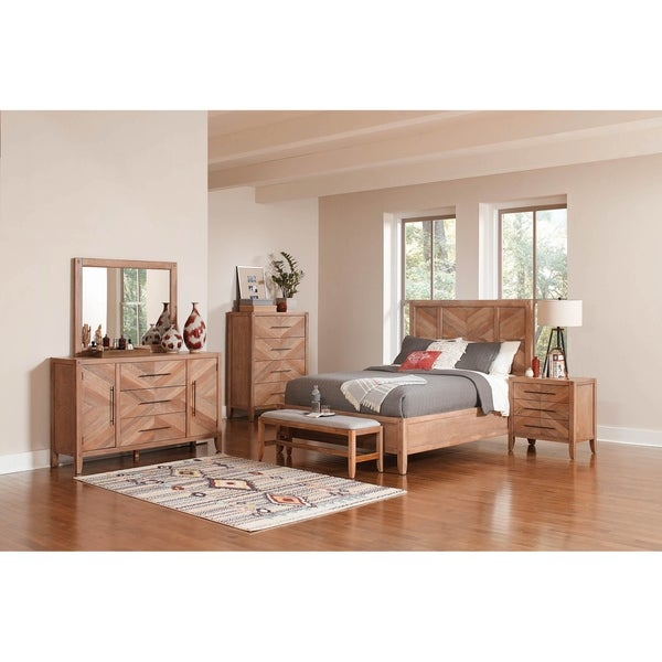 Sedona Solid Wood Construction Bedroom Set with King Size Bed, Dresser, Mirror and 2 Nightstands. Opens flyout.
