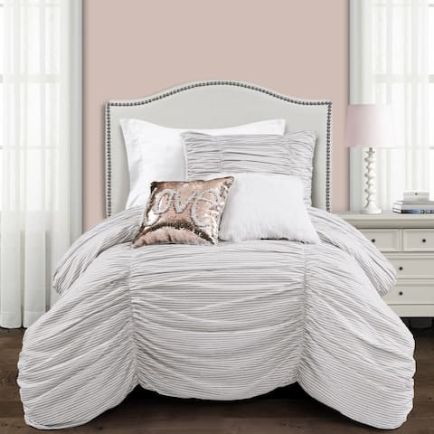 Lush Decor Ruching Ticking Stripe Comforter Set