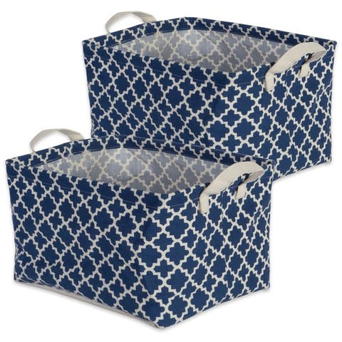 DII Pe Coated Cotton/Poly Laundry Bin Lattice Gray Rectangle Large (Set of 2)