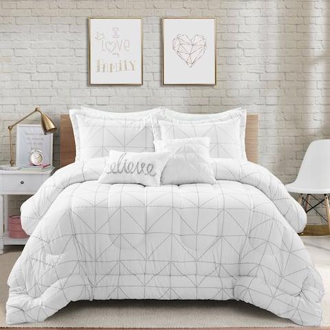 Lush Decor Trio Geo Metallic Print Comforter Set