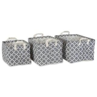 DII Pe Coated Cotton/Poly Laundry Hamper Lattice Aqua Round
