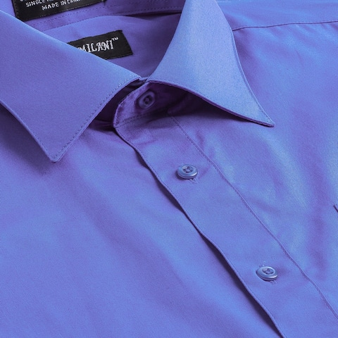 Milani Poly-Cotton Men's Classic Fit Dress Shirt with Left chest Pocket