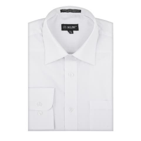 Milani Poly-Cotton Men's Classic Fit Dress Shirt with chest Pocket