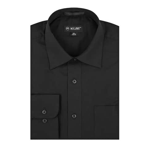 Milani Poly-Cotton Men's Classic Fit Dress Shirt w-Left chest Pocket