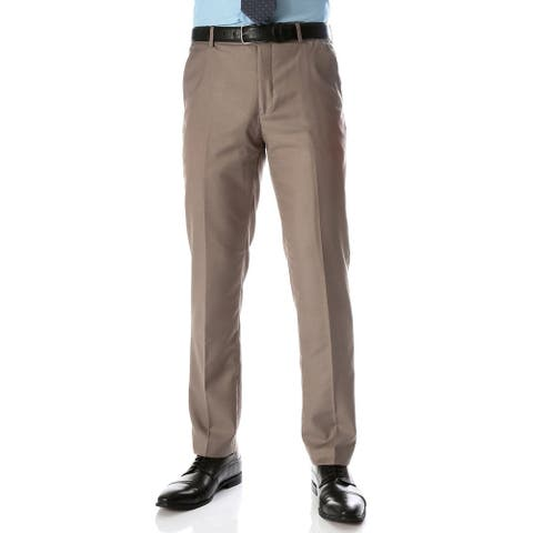 Ferrecci Men's Halo Taupe Slim Fit Flat-Front Dress Pants