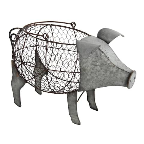 Silver Metal Pig with Wire Basket