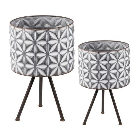 Gray and White Large Round Planters on Stands (Set of Two)