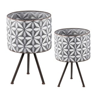 Gray and White Large Round Planters on Stands (Set of 2)
