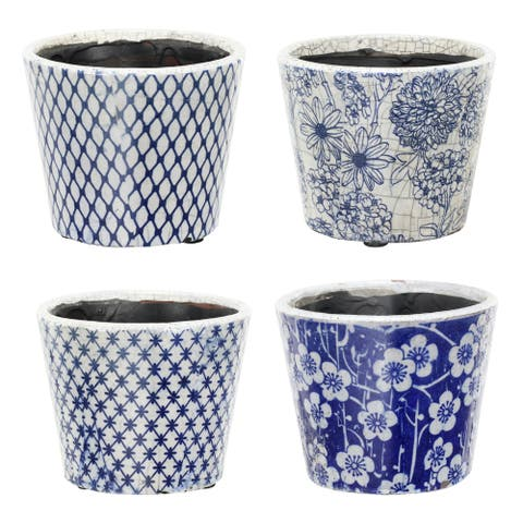 A&B Home Large Terracotta Blue and White Planters (Set of 4)