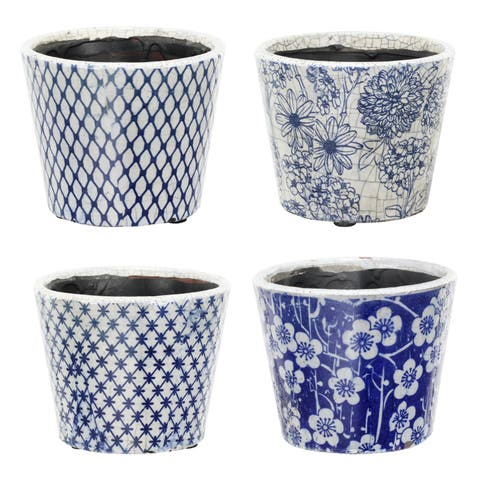 Large Terracotta Blue and White Planters (Set of Four)
