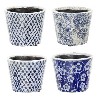 Large Terracotta Blue and White Planters (Set of 4)