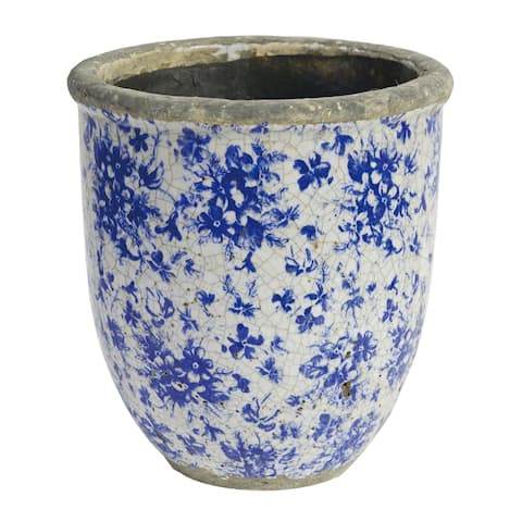A&B Home Lilibeth Blue and White Tall Planter