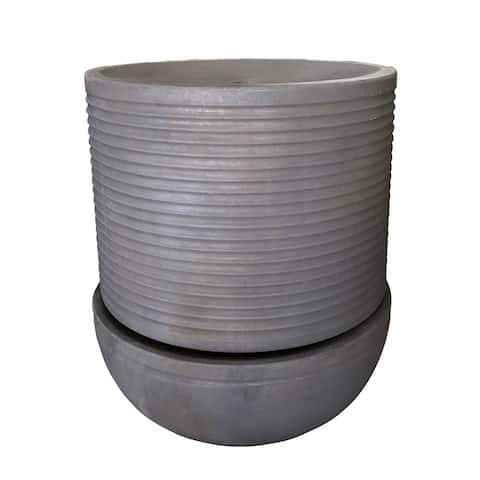 Ribs 25-inch Gray Round Fountain