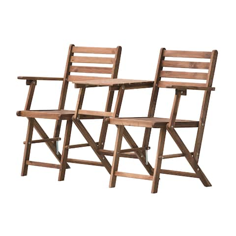 Natural Folding Attached Chairs and Table